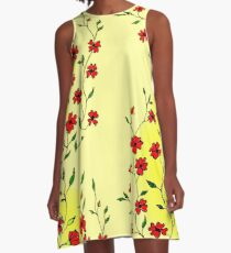 Red Blooms on a Sunshiny Day A-Line Dress