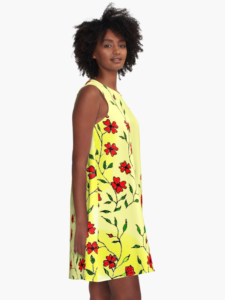 Alternate view of Red Blooms on a Sunshiny Day A-Line Dress