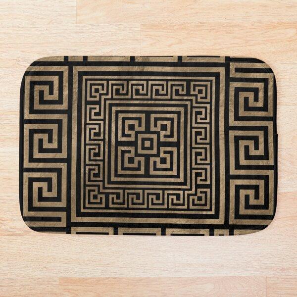 Greek Key Ornament - Greek Meander -Gold on Black Bath Mat