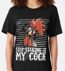 stop staring at my cock animals chicken Slim Fit T-Shirt
