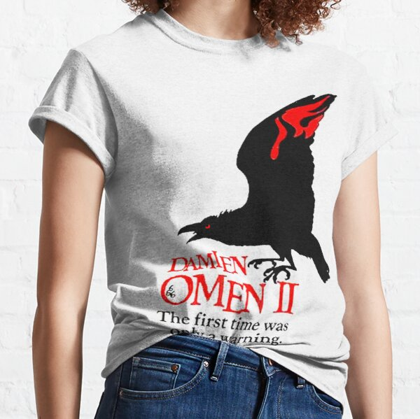 OMEN. Crow, Warning, Movie Poster, Horror, Film. Classic T-Shirt