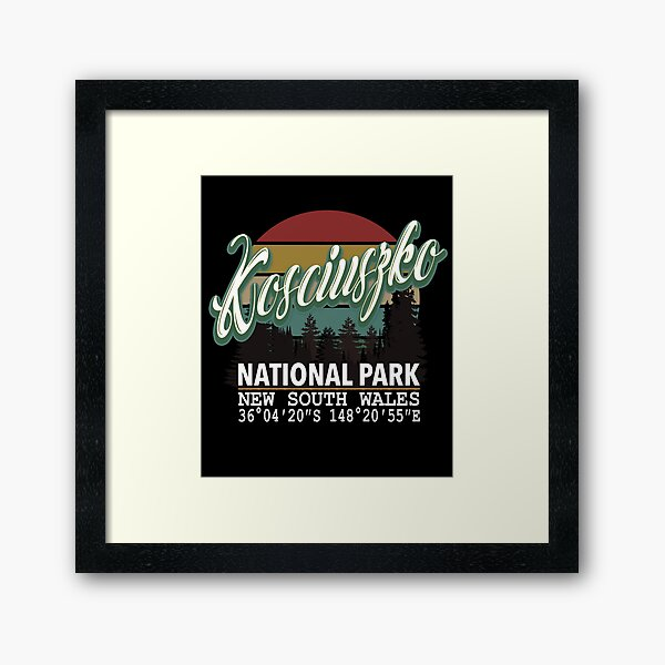 Classis Vintage Kosciuszko National Park  with GPS Location New South Wales Australia Framed Art Print