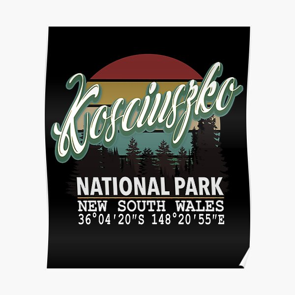 Classis Vintage Kosciuszko National Park  with GPS Location New South Wales Australia Poster