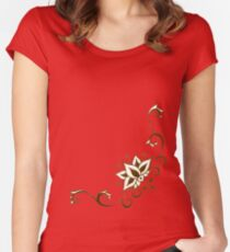 Climbing Lotus on Saffron Women's Fitted Scoop T-Shirt