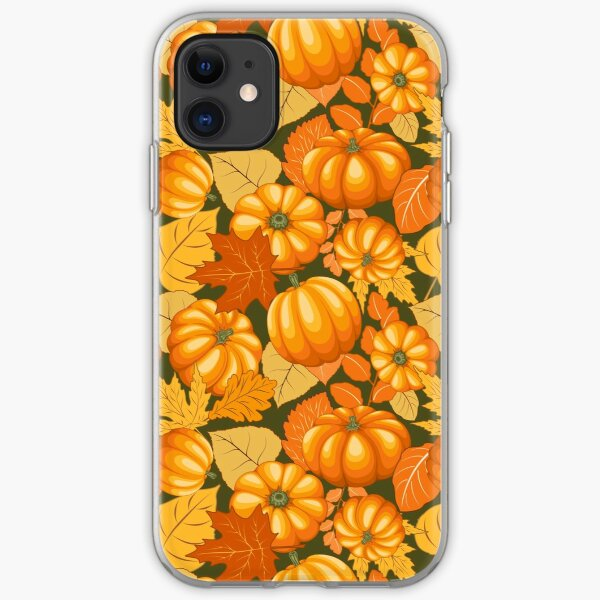 Pumpkins and Autumn Leaves Party iPhone Soft Case