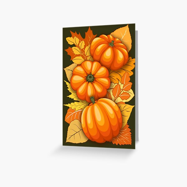 Pumpkins and Autumn Leaves Party Greeting Card