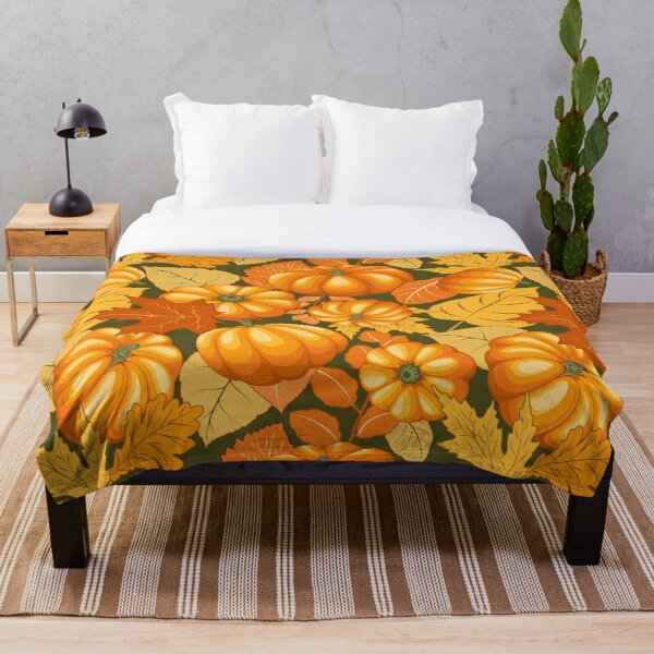 Pumpkins and Autumn Leaves Party Throw Blanket