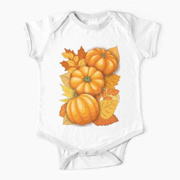 Pumpkins and Autumn Leaves Party Short Sleeve Baby One-Piece