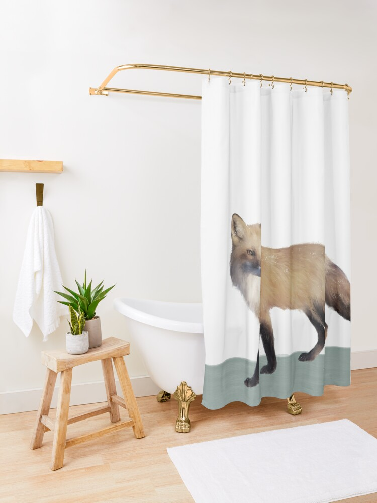 Alternate view of Fox on Sage Shower Curtain