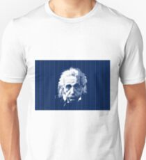 Albert Einstein Portrait with blue text background  Unisex T-Shirt