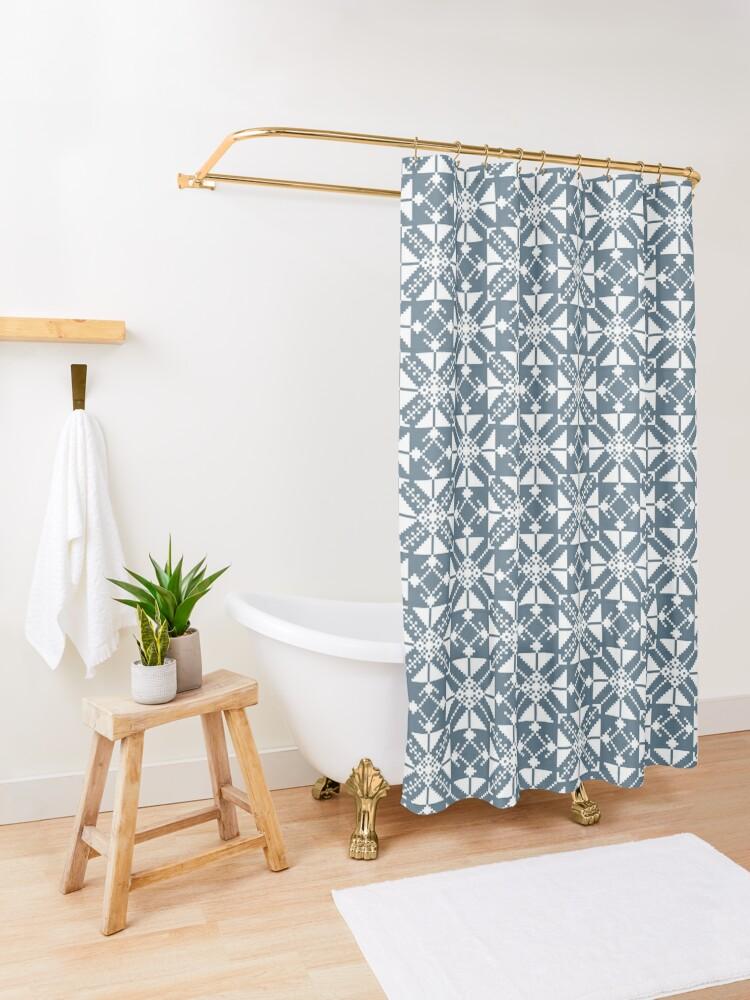 Alternate view of Blue folk Shower Curtain