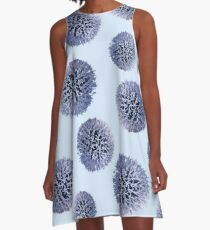 Monochrome - Starry night on the thistle globe A-Line Dress