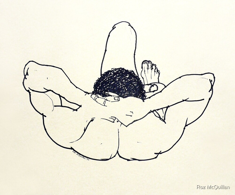 Male nude, original ink drawing by Roz McQuillan