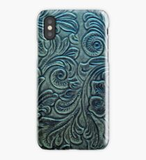 Blue Green Tooled Leather Floral Scrollwork Design iPhone Case/Skin
