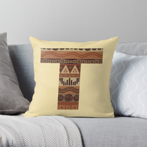 Letter T Leather Look Pattern Tribal Ethnic Monogram Initial Throw Pillow