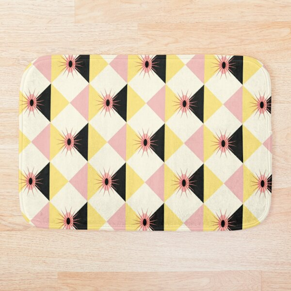 Atomic sunburst blocks Yellow Pink Bath Mat