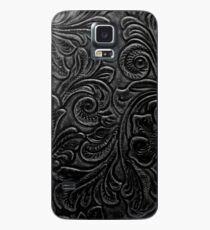 Black Tooled Leather Floral Scrollwork Design Case/Skin for Samsung Galaxy