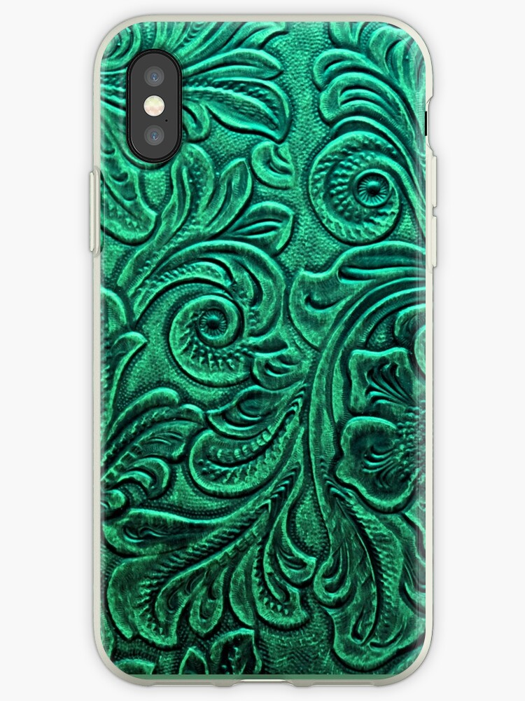 Emerald Green Tooled Leather Floral Scrollwork Design by RandP Walriven