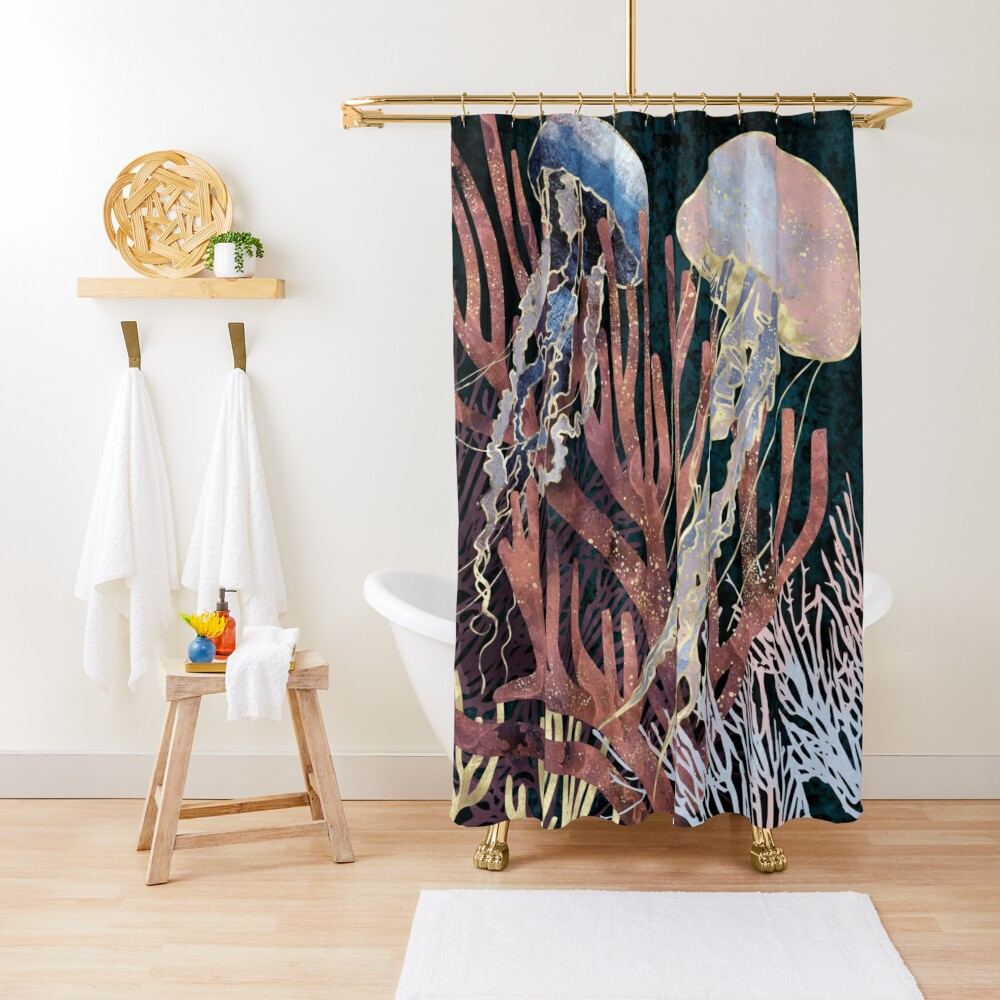 Metallic Coral Shower Curtain