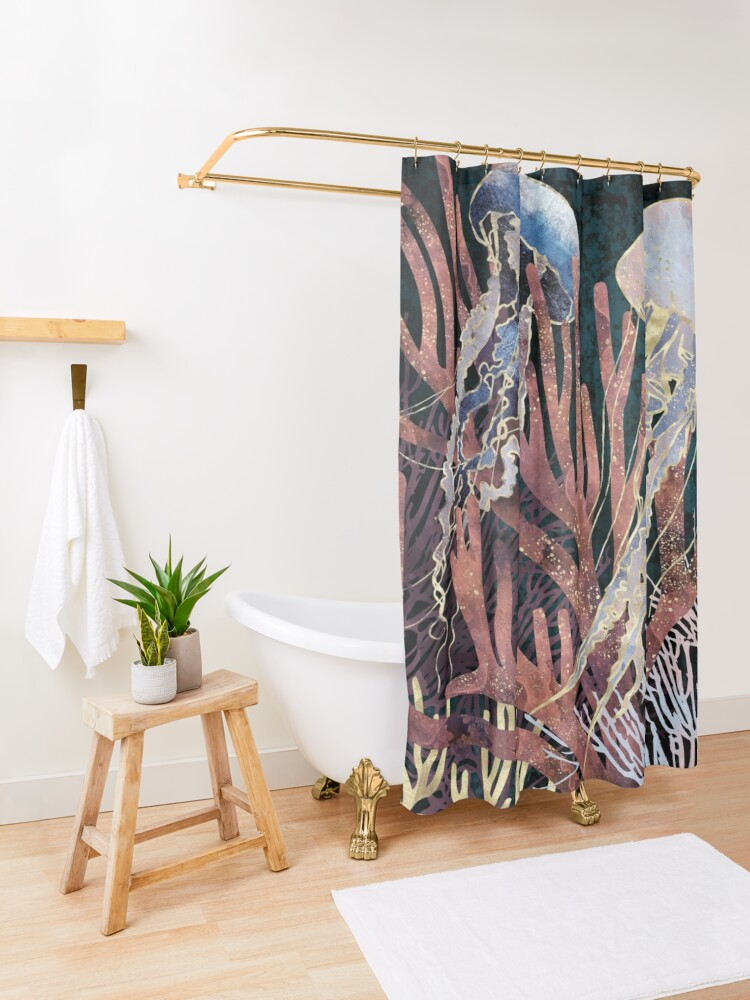 Alternate view of Metallic Coral Shower Curtain