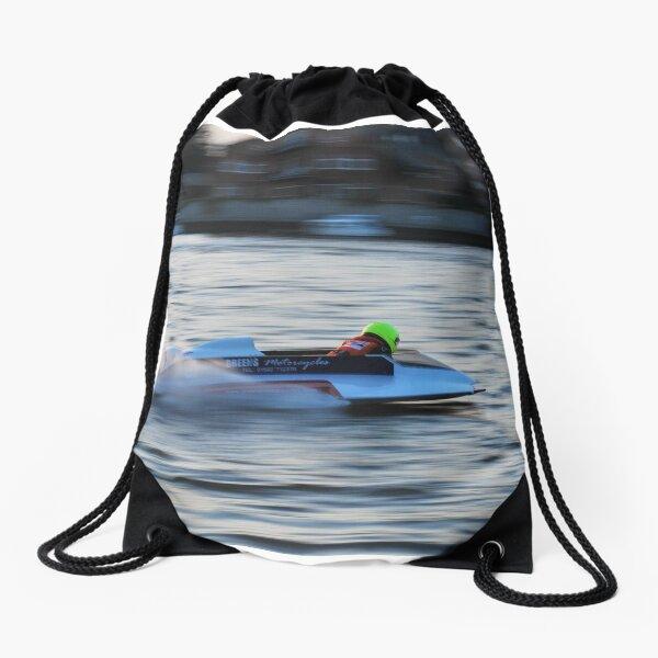Powerboat Racing at Oulton Broad - Hydroplane - Wayne Turner Drawstring Bag