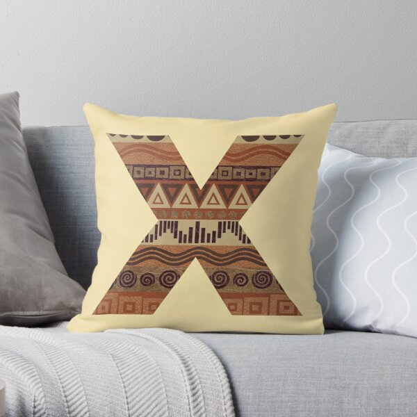 Letter X Leather Look Pattern Tribal Ethnic Monogram Initial Throw Pillow