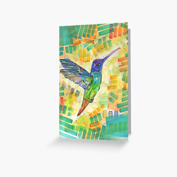 Golden-tailed Sapphire Hummingbird Painting - 2016 Greeting Card