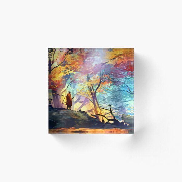 A Wolf in the Colorful Forest Acrylic Block