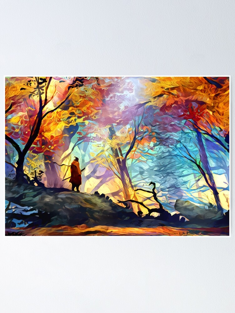 Alternate view of A Wolf in the Colorful Forest Poster