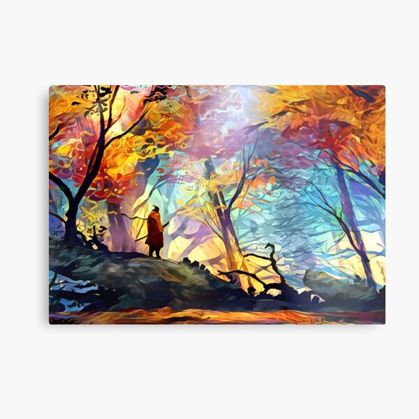A Wolf in the Colorful Forest Metal Print