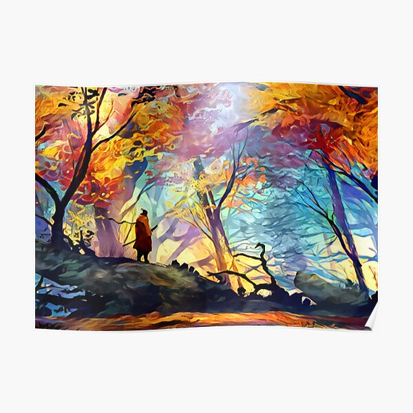 A Wolf in the Colorful Forest Poster