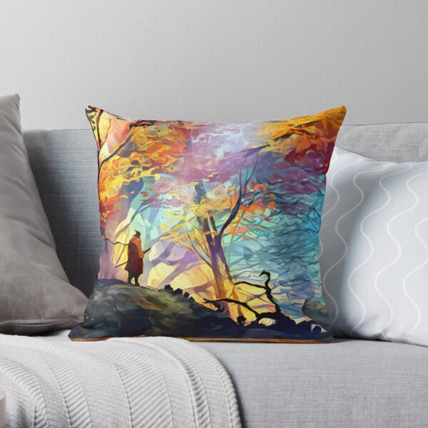 A Wolf in the Colorful Forest Throw Pillow