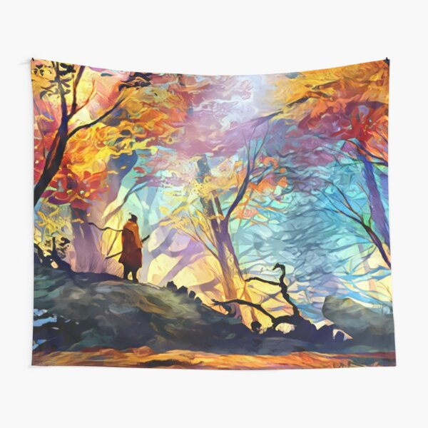 A Wolf in the Colorful Forest Tapestry