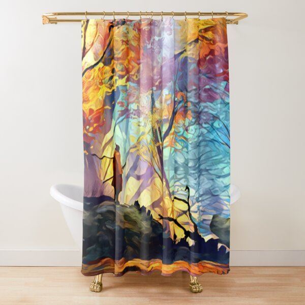 A Wolf in the Colorful Forest Shower Curtain
