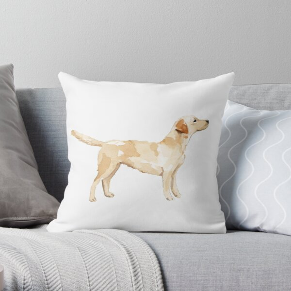 Yellow Lab Silhouette Watercolor Throw Pillow