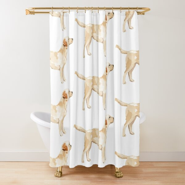 Yellow Lab Silhouette Watercolor Shower Curtain