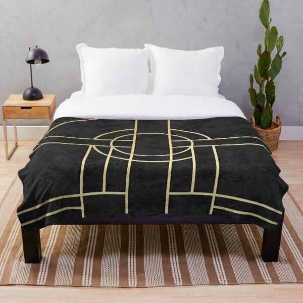 Art Deco Black Marble Throw Blanket