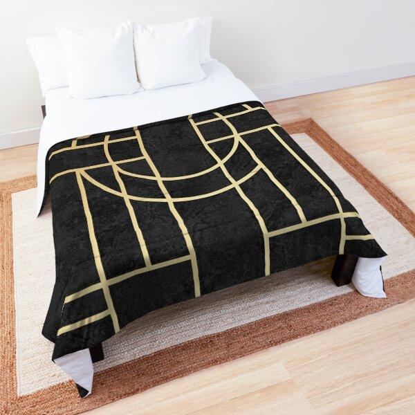 Art Deco Black Marble Comforter