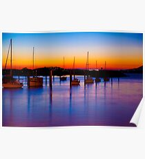 Sunset over the bay Poster