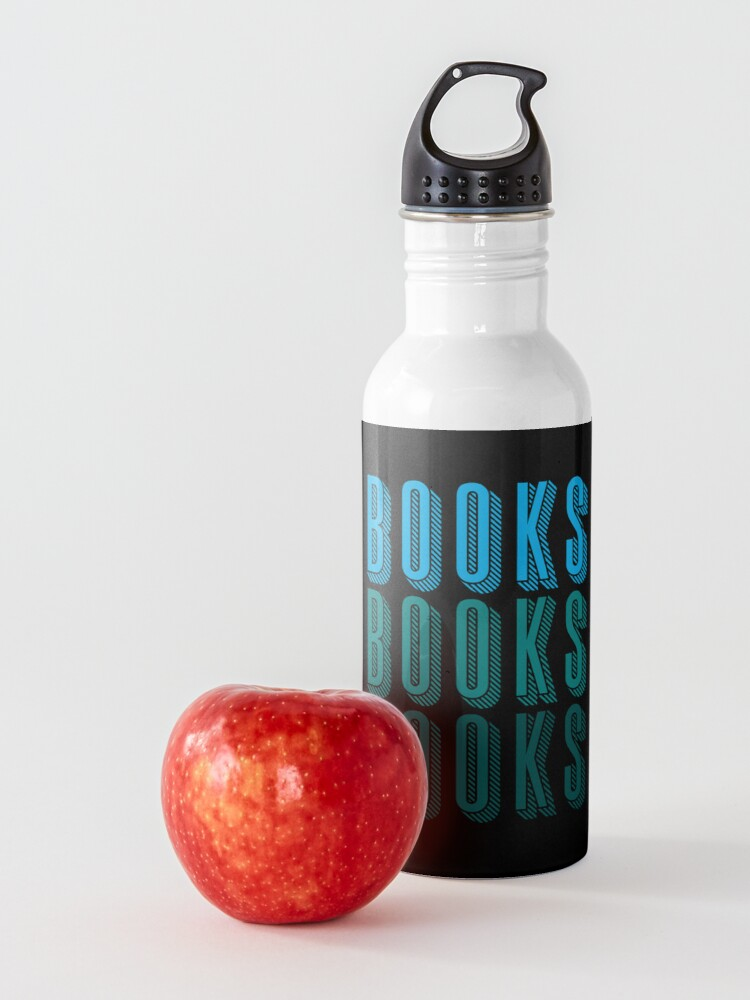 Alternate view of BOOKS BOOKS BOOKS in blue Water Bottle
