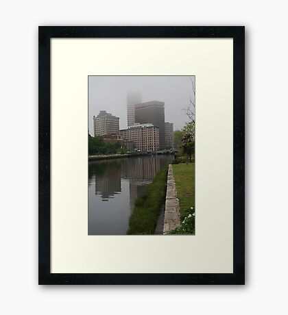 Foggy morning in Providence Framed Print