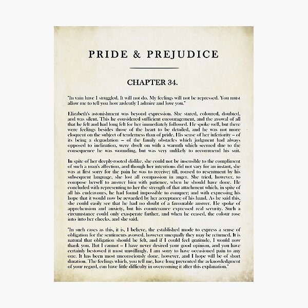 "Pride & Prejudice by Jane Austen - Mr. Darcy: ""how ardently I admire and love you."" - vintage book page Photographic Print"