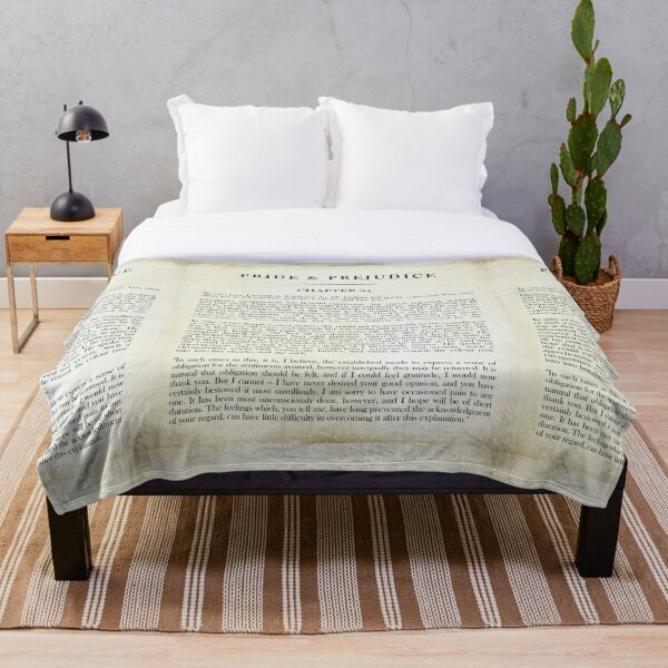 """Pride & Prejudice by Jane Austen - Mr. Darcy: """"how ardently I admire and love you."""" - vintage book page Throw Blanket"""