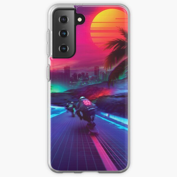 Synthwave Midnight Outrun Samsung Galaxy Soft Case