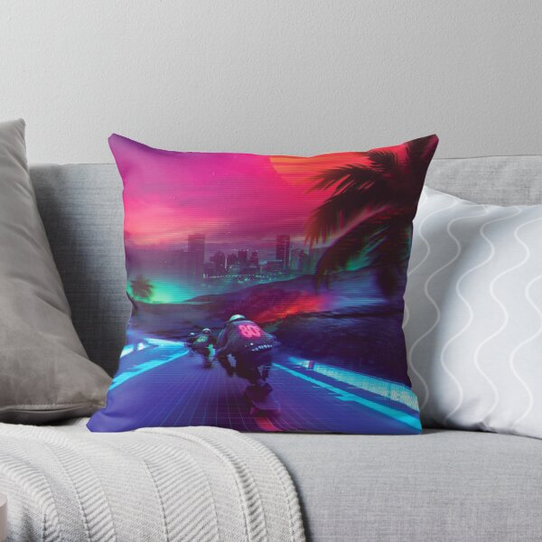 Synthwave Midnight Outrun Throw Pillow