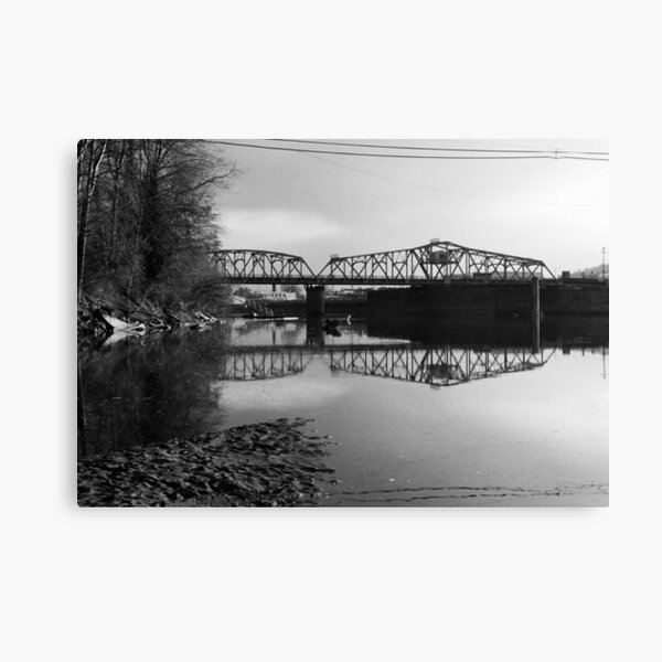 Skagit River and Bridge in Washington State as Winter Begins Canvas Print