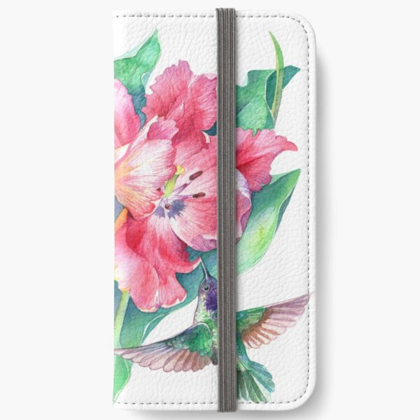 Tulips and Hummingbirds Watercolor iPhone Wallet