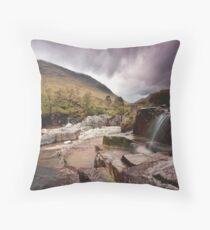 Glen Etive waterfall Throw Pillow