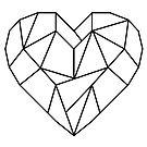 Romantic black lined love heart by Jen Fullerton