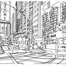 Hong Kong original line drawing by Jen Fullerton